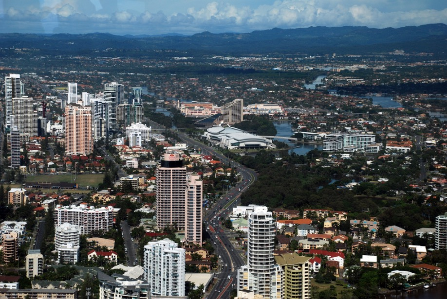 Gold Coast Surfers Paradise High Rise Buildings and Mountains