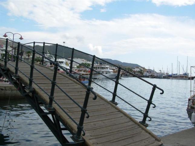 marmaris marina boats and bridge