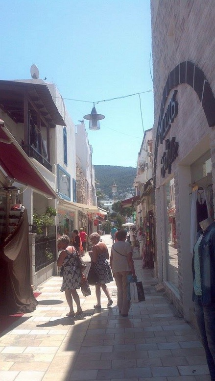 bodrum shops tourists old town center