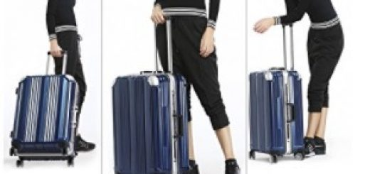 Coolife Luggage Aluminium Frame Suitcase 3 Piece Set with TSA Lock