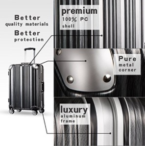 Coolife Luggage Aluminium Suitcase 3 Piece Set