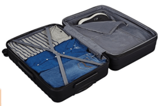 Black AmazonBasics Hardshell 3-Piece Luggage Set
