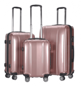 Goplus 3 Piece Set Hard Suitcases Rose Gold Carry On Luggage