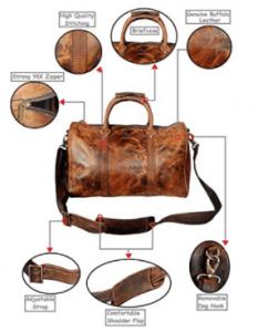 RusticTown 20 inch Leather Travel Duffel Bag, DF17ADN