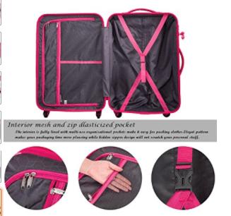 Merax Travelhouse Mixed Color 3 Piece Spinner Luggage Set with TSA Lock