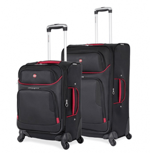 SwissGear 2 PC Expandable Spinner Wheel Black Suitcase Set, 7317
