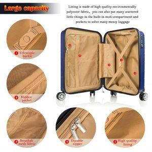 BiBOSS Luggage 2 Piece Set Lightweight Hardside Interior