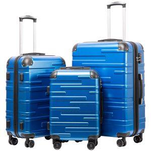 Coolife Expandable Hardshell ABS 3 Piece Luggage Set with TSA