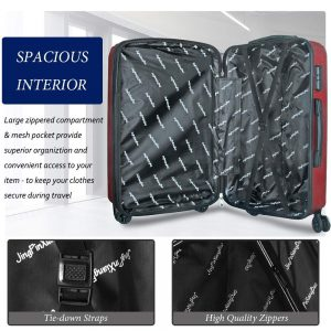 DFAVORS 3 Pieces Expandable Luggage Set ABS Hardside Spinner Interior