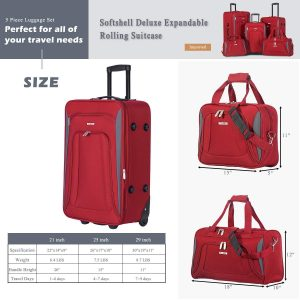 Flieks 5 Piece Set Expandable Rolling Suitcase Softshell Deluxe Set