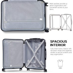 Coolife Luggage 3 Piece Sets PC+ABS Spinner Suitcase Interior