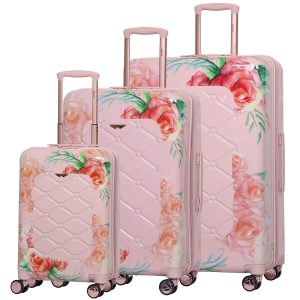 Aerolite Women's Floral Pink 3 piece Lightweight Luggage Set