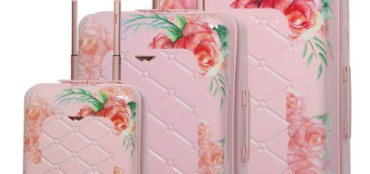Aerolite Women's Floral Pink 3 piece Lightweight Luggage Set