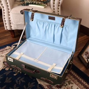 Urecity Women Leather Trunk Trolley Suitcase