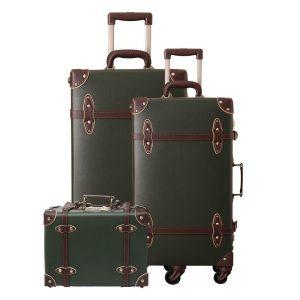 Urecity Women Leather Trunk Trolley Suitcase Set
