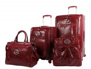 Kathy Van Zeeland Croco PVC Luggage Set