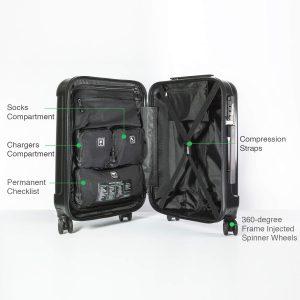 genius pack aerial spinner luggage interior