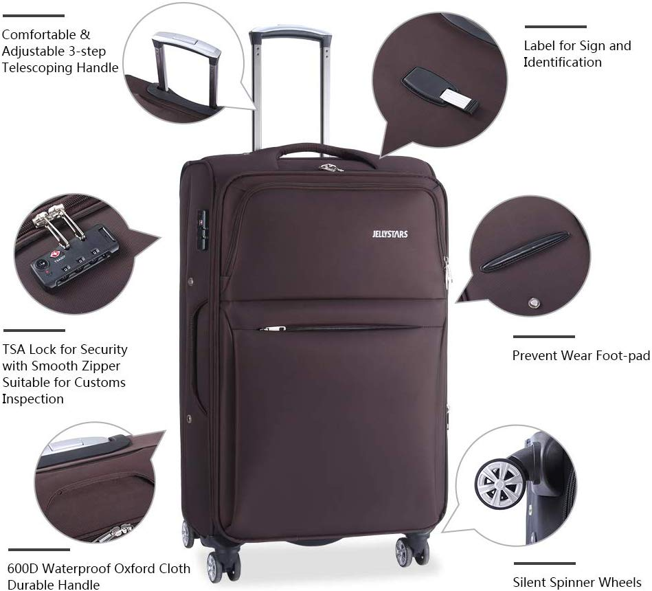JELLYSTARS 3-Piece Travel Luggage Set Coffee Spinner TSA