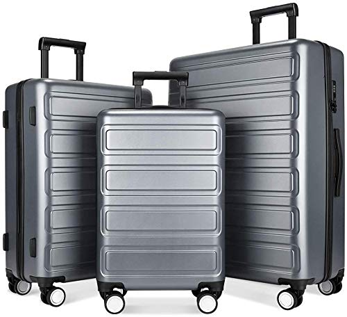 SHOWKOO 3 Piece Polycarbonate Luggage Set