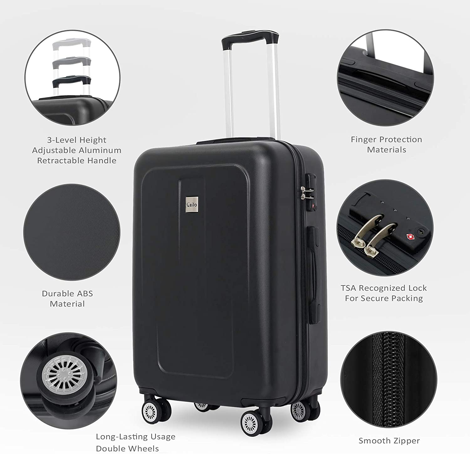 Ceilo 3 Pieces ABS Luggage Set