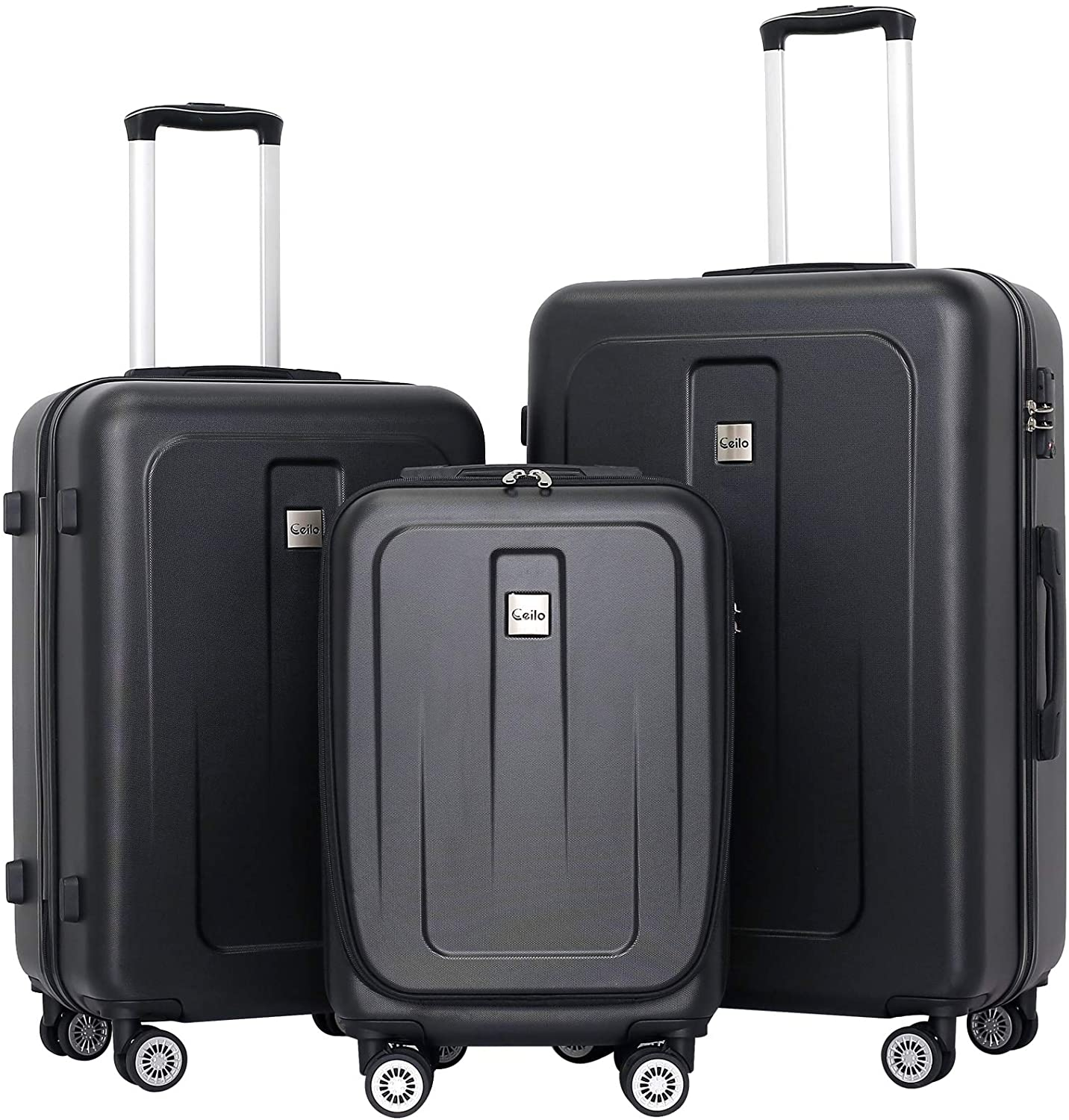 Ceilo 3 Pieces ABS Luggage Sets with TSA Lock